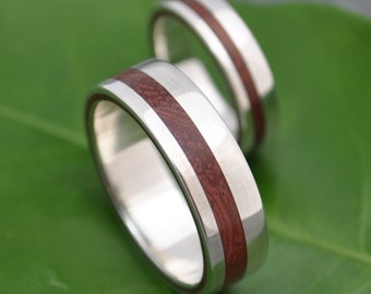 Equinox Guapinol Wood Ring with Recycled Sterling - ecofriendly wood wedding band, wood wedding ring, mens wood ring, wood wedding band set