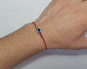 red string good luck bracelet, evil eye protection wristband, new, adjustable
