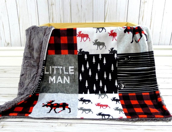 Plaid Baby Quilt: Moose Baby Blanket Buffalo Plaid Blanket Faux Quilt Little