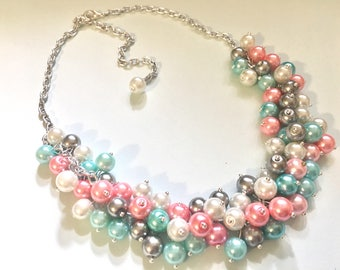 Pink Blue Silver & White 3 Piece Jewelry Set - Necklace, Earrings, Bracelet - Wedding Bridesmaid Personalized Pearl cluster, gender reveal