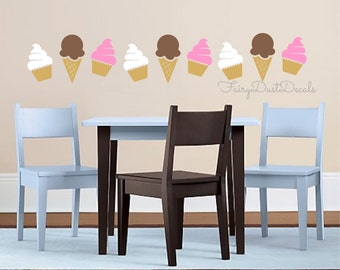 Ice cream cone and cupcakes wall decal - cupcake wall decal - ice cream wall decal - nursery wall decals - vinyl stickers - sweets decals