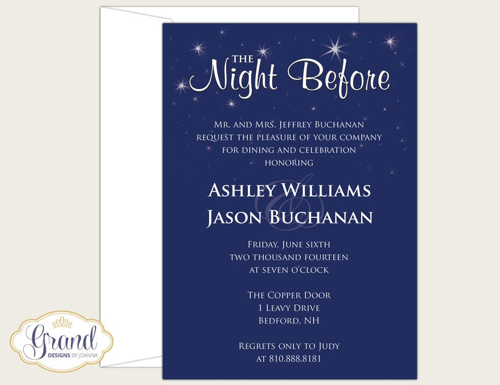 The Night Before Rehearsal Dinner Invitation Wedding