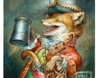 Tavern Fox (print) - bar art, beer, party animal, man cave, brewery, artwork, illustration