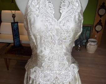 Cache Wedding Dress As Is 80s Halter Backless Wedding Gown