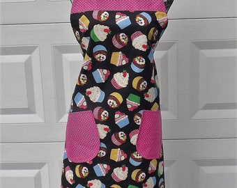 Black Cupcake Apron in With Pink Polka Dots