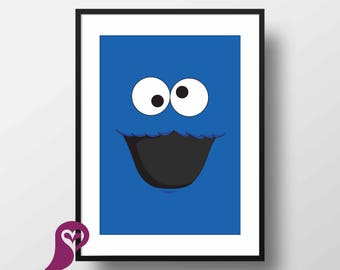 Sesame Street Poster | Cookie Monster | Children's TV Series  |  Playroon Decor | Kids Room | Childrens Room | Wall Art | Home Decor