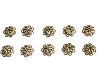 Set of 10 flowers 14 mm antiqued bronze bead caps
