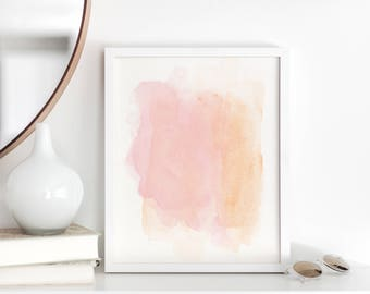 Blush Pink and Orange Watercolor - Printable Wall Art - Abstract - Gallery Wall Decor - Girls Room Art