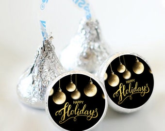 108 Gold Ornaments Kiss® Stickers - Hershey Kiss Stickers - Kiss Labels - Merry Christmas - Christmas - Gold Bulbs - Happy Holidays