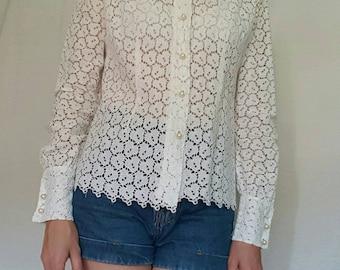 VINTAGE shirt //70's //lace shirt//Size XS//