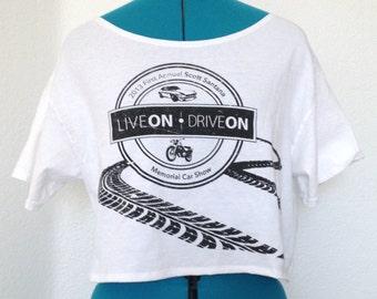Upcycled Recycled Repurposed 100% Adult Large Cotton T-Shirt Crop Top - Kawaii Crop Top, Cotton Cropped Tee, Kawaii Clothing, Kawaii Shirt