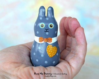 Bunny Rabbit Figurine, Handmade Miniature Bunny Rabbit Sculpture, Blue, Gold, Red Hug Me Bunny, Animal Charm Figure, Personalized Tag
