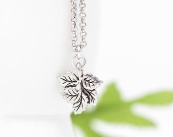 Mother Gift - Silver Leaf Necklace - Leaf Charm - Sterling Silver Chain - Woodland Jewelry - Woodland Necklace - Leaf Jewelry - Gift For Her