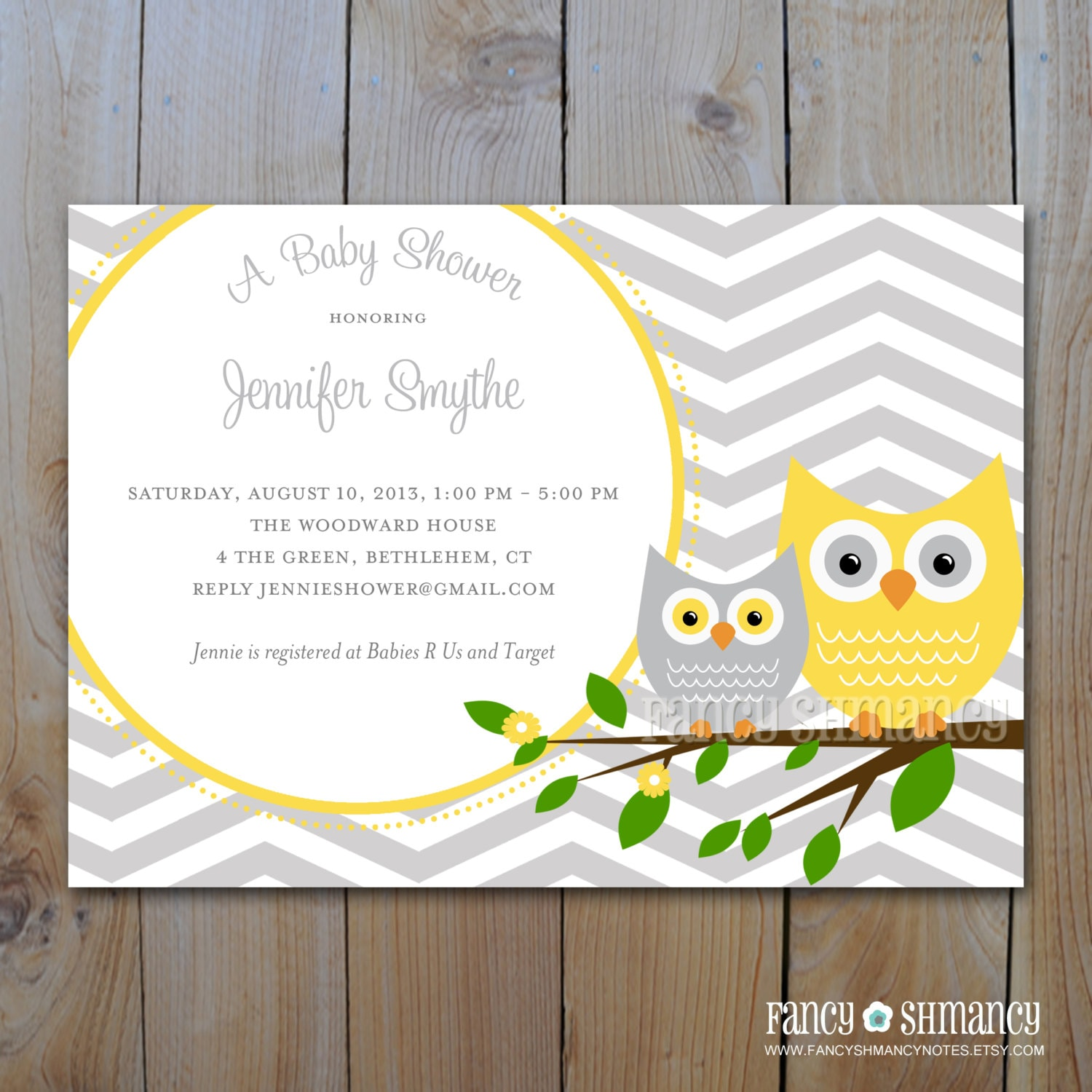 Baby shower invitation grey and yellow owl with grey zoom filmwisefo