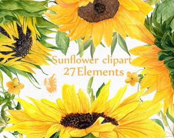 """Sunflower Watercolor clipart: """"SUNFLOWER CLIP ART"""" Wedding clipart Floral clipart Separate flowers Diy wedding Greeting Cards Yellow flowers"""