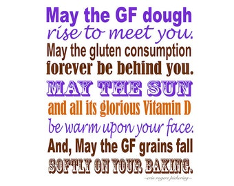 Gluten Free Irish Blessing Sampler in Purple, Brown and Orange 8x10 Kitchen Art