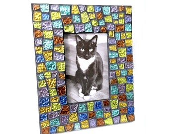 Gem Stone Colored Mosaic Glass Tile Frame, Iridescent Glass Mosaic Frame, Black Frame with Glitter Tiles, Handmade Mosaic Tile Frame
