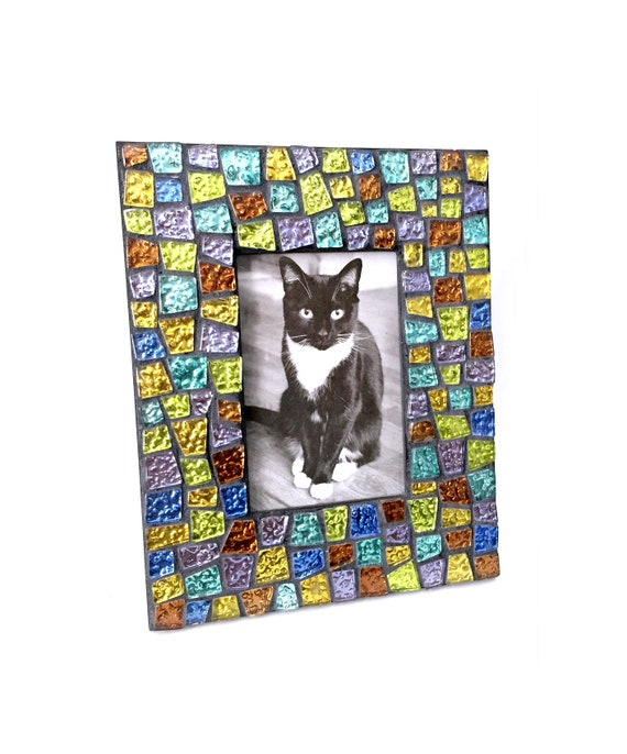 Gem Stone Colored Mosaic Glass Tile Frame, Iridescent Glass Mosaic Frame, Black Frame with Glitter Tiles, Handmade Mosaic Tile Frame