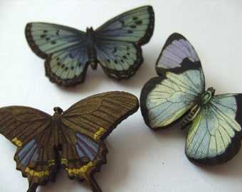 Set of 3, butterfly Brooches, wood, small, lilac, grey, blue, by NewellsJewels on etsy