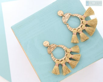 Statement tassel earrings, Geometric earrings, Fan tassel earrings, Large earrings, Dangle stud earring, Birthday gift,