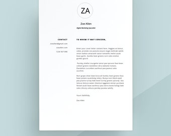 Modern Cover Letter Template, Cover Letter, Letterhead, Word Template, Simple  Cover Letter