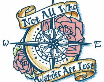 WANDERING COMPASS 2 Colorways 5 Sizes Maritime Motif Machine Embroidered Quilt Squares, Art Panels