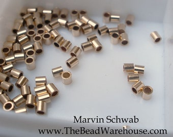 Gold Filled Crimp Tube  2mm 50 pc Beads Heavy Wall