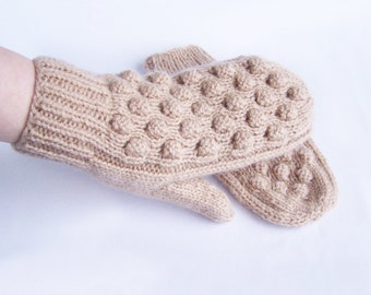 Beige mittens Woman teen knit brown chunky wool mittens Warm cozy mittens For medium size M and L