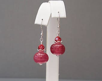 Pink Drop Earrings with Lampwork Glass Beads - Mom Gifts - Anniversary Gift for Wife