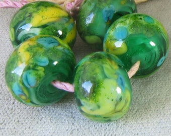 Sunshine Meadow Lampwork Spacer Handmade frit Glass Beads Blue Yellow Green 2-6 bead sets