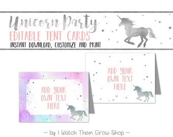 Unicorn Party Tent Cards, Editable/Printable Silver Unicorn Birthday Party Buffet Cards, Food Labels, Place Cards PDF INSTANT DOWNLOAD
