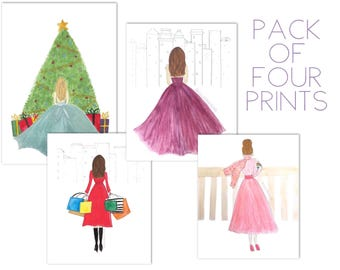 Pack of Four Holiday Fashion Illustrations