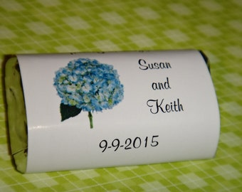 Hydrangea Wedding Candy Bar Wrappers in Pink Purple or Blue Bridal Shower Rehearsal Dinner Favors Candy Wrappers