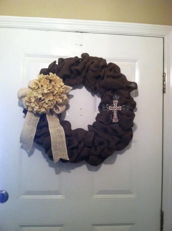 Fall Wreath - Burlap Wedding Wreath -  Autumn Wreath - Front Door Wreath - Door Wreath - Burlap Wreath with Cross - Brown Burlap Wreath