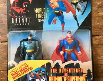 1998 The New Batman Adventures, Wal-Mart Exclusive, World's Finest Two Pack Batman and Superman Action Figures. Carded. Kenner Inc.