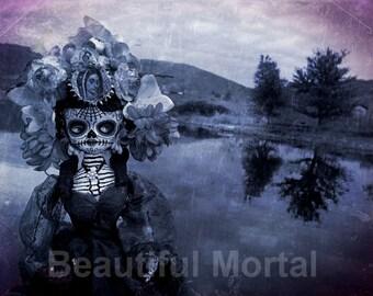 Beautiful Mortal Dia De Los Muertos Creepy Landscape Doll PRINT 556 by Michael Brown