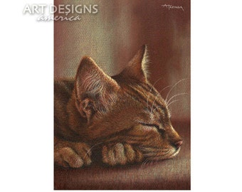 Napping Tabby Cat, ACEO Cat Art Print, Archival Print, SFA Small Format Art, Sleeping Cat Drawing, Cat Pastel, Artist Trading Card, ADA-P243