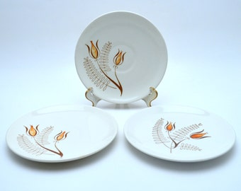 Set of 3 Vintage Royal China Plates, Underglaze Tanglewood, 2 Saucers and 1 Bread Plate, Mid Century China, 1960s