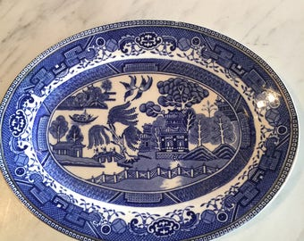 Antique Blue Willow Platter With Old Willow Label
