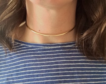 Gold Choker Necklace - Gold Neck Cuff - Gold Necklace - Collar Necklace - Gold Collar Necklace - Choker - Thick Gold Choker Neaptide Designs
