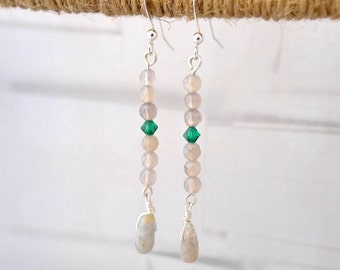 Labradorite and Swarovski Is Right Earrings!