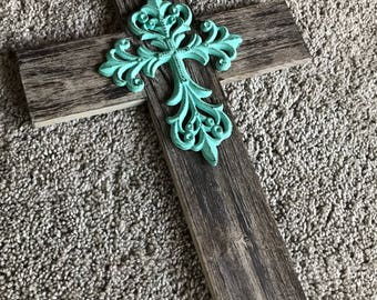 Rustic Cross Wood And Iron Cross Wall Decor Farmhouse Style Home Decor  Turquoise