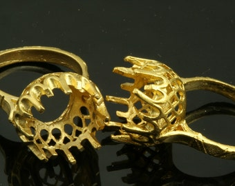 1 pc Gold plated Brass ring with 12 mm base setting 545