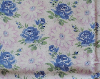 Vintage Fabric Blue Roses and Rosebuds Pink and White Daisies Suitable for Patchwork Quilting Lavender Bags Dolls Clothes Feedsack Pillow