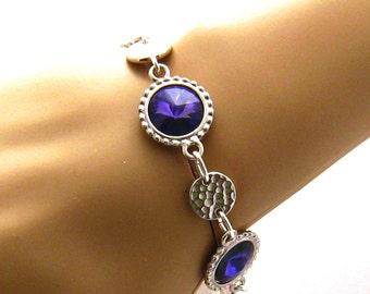 Purple Bracelet, Bridesmaids Jewelry, Swarovski Purple Crystal Bracelet, Heliotrope Purple Bridesmaid Bracelet, Wedding Jewelry, Silver