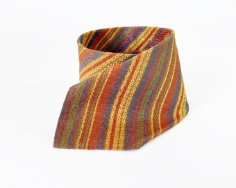 1970's striped Silk Tie / Woven / Earth Tones
