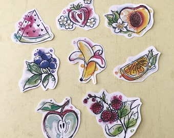 Fruit watercolor stickers