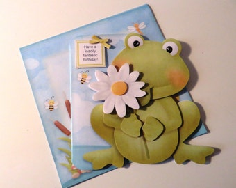 Frog birthday card with matching envelope.