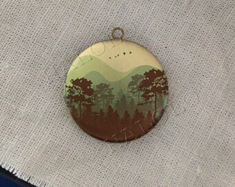 mountain trees pine explore landscape outdoor adventure round antique bronze locket 32mm (LD212)