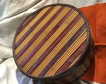 Round, Lidded Bamboo and Wood Basket/Box